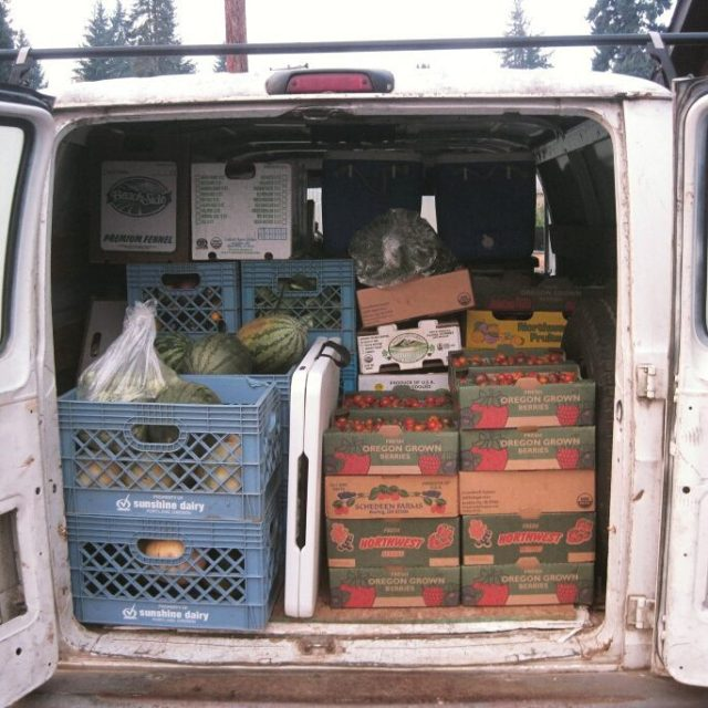 How many boxes of produce and bouquets can fit inhellip